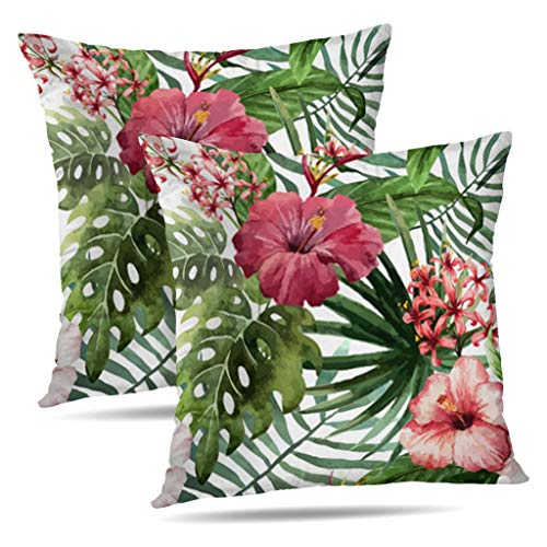 (KJONG Set of 2 Hawaiin Hibiscus Tropical Summer Zippered Pillow Cover,Square Decorative Throw Pillow Case Fashion Style Cushion Covers(18 x 18 inch,Two Sides Print))