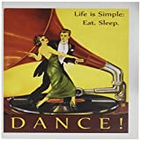 art deco images 3dRose image of art deco man-woman dancing on record with inspirational message - Greeting Cards, 6 x 6 inches, set of 12 (gc_171630_2)