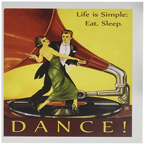 3dRose image of art deco man-woman dancing on record with inspirational message - Greeting Cards, 6 x 6 inches, set of 12 (gc_171630_2)