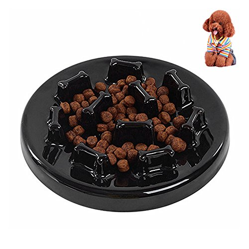 Petacc Slow Feeder Ceramic Dog Bowl Anti-choke Pet Bowls against Bloat, Indigestion and Obesity, Black