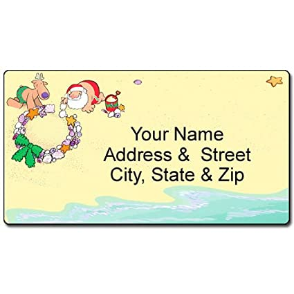 amazon com beach christmas address label holiday customized