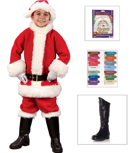 Santa Suit Child Costume, Disguise Stix, Child Boots (11-12), Santa (Disguise Stix)