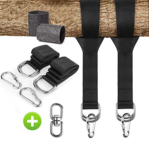 MY'S Tree Swing Hanging kit , Hammock Attachment Set Easy to Mounted Swing with Protective pad and D-Ring, Carabiner and 360 ° Rotary Buckle - Suitable for Children's Swing, Round Pendulum, Hammock.