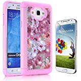 Samsung Galaxy J7 Case, Bonice 3 in 1 Hybrid Dual Layer Diamond Studded Bling Crystal Rhinestone Protective Case Cover for Samsung Galaxy J7 (2015) + 1 x HD Screen Protector (Rose Pink)