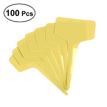 OUNONA 100Stk.T-Form Plastik Pflanzenstecker Stecketiketten Beschriften Pflanzschilder Schilder(Gelb)