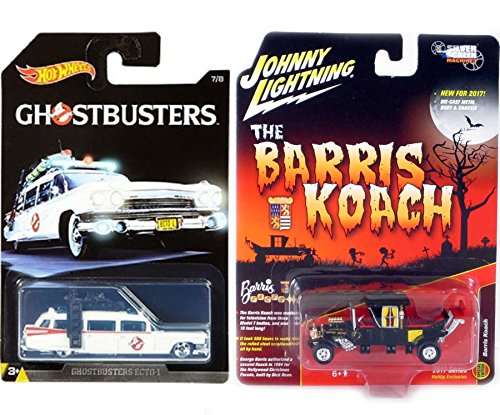 Munsters George Barris Koach Family Car 2017 TV Show Hobby Model & Hot Wheels Exclusive Ghostbusters Ecto-1 Movie Ambulance Creepy Set Limited Edition 2-Pack Johnny Lightning from HW Screen Time