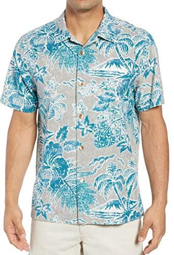 Tommy Bahama Beach Batik Silk Blend Camp Shirt (Color: Seagrove, Size XL)