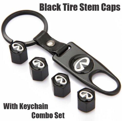 Infiniti Black Tire Stem Valve Caps And Black Keychain Combo Set