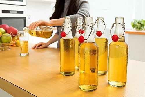 Swing Top Glass Bottles - Flip Top Brewing Bottles For Kombucha, Kefir, Beer - Clear Color - 16oz Size - Set of 6 - Leak Proof Easy Caps, Bonus Gaskets, Chalkboard Labels and Pen - Fast Clean Design by Otis Classic (Image #5)