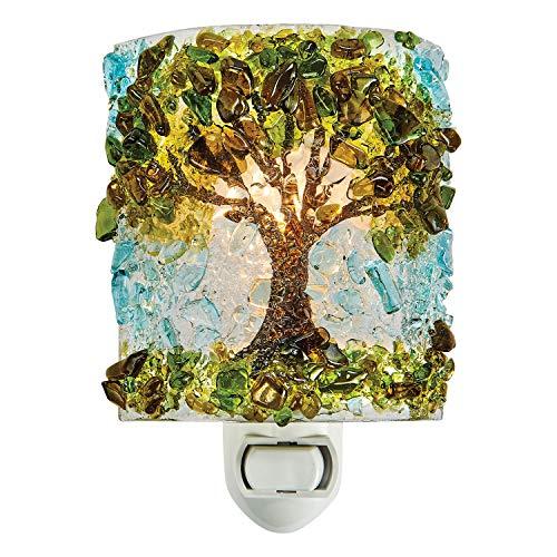 - Reborn Glass Four Seasons Night Light: Summer Oak Tree - Hand Made Fused Glass Art Glass Upcycled Bottle Glass Plug in