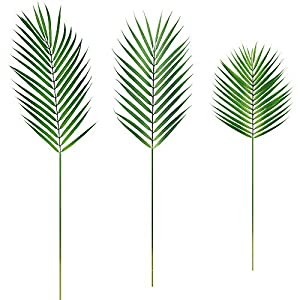 Supla 3 PCS 3 Size Artificial Areca Palm Tropical Leaves Stems Faux Plastic Palm Tree Leaves Faux Monstera Leaves Plastic Palm Leaf Greenery Floral Arrangement Hawaiian Luau Jungle Beach Wedding Party 99