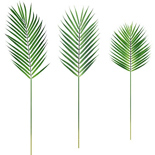 Supla 3 PCS 3 Size Artificial Areca Palm Tropical Leaves Stems Faux Plastic Palm Tree Leaves Faux Monstera Leaves Plastic Palm Leaf Greenery Floral Arrangement Hawaiian Luau Jungle Beach Wedding Party