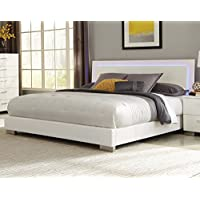 Coaster Felicity California King LED Panel Bed in Glossy White