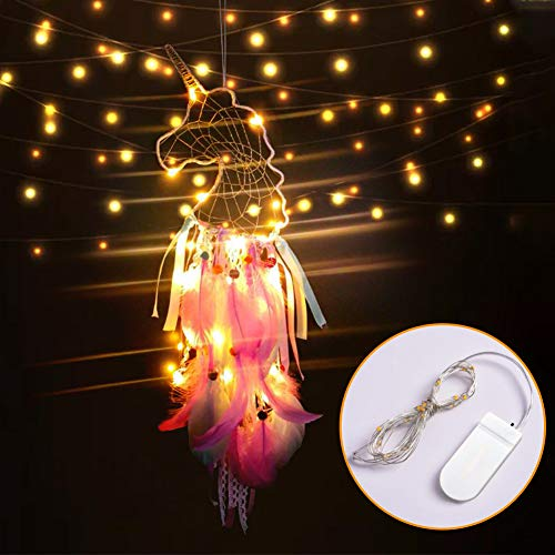 JOHOUSE Dream Catchers for Kids, LED Pink Dream Catcher Feather Wall Boho Room Décor, Ornament Festival Gift, 27inches