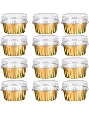 Garta Dessert Cups with Lids, 25 Pack Aluminum Party Cups Gold Aluminum Foil Baking Cups Holders, Cupcake Bake Utility Ramekin Clear Pudding Cups