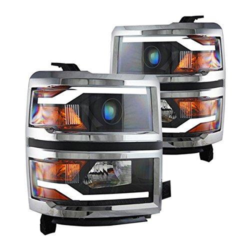 HeadLight Fits 2014-2015 Chevy Silverado Chrome frame, black headlight Headlamp Assembly kit Driving Light by IKONMOTORSPORTS