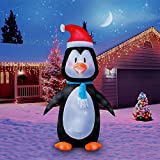 Holidayana Christmas Inflatable Giant 8 Ft. Penguin In Santa Hat Christmas Inflatable Featuring Lighted Interior/Airblown Inflatable Christmas Decoration With Built In Fan And Anchor Ropes