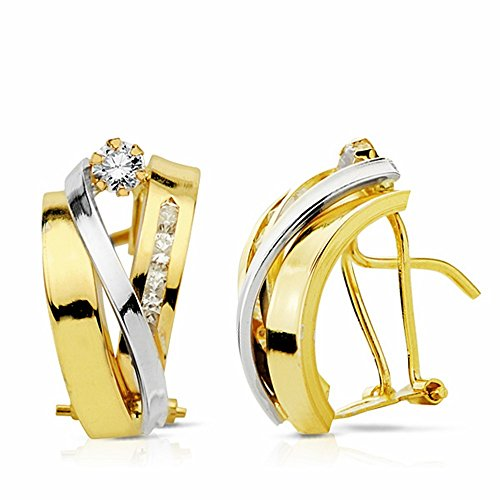 Boucled'oreille 17mm 18k bicolor d'or. bandes zircons [AA2192]