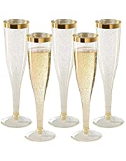 Plastic Champagne Flutes Disposable 30 Pack 6.5 oz Champagne flute Heavy Duty Wine Glass, Clear Plastic Toasting Glasses, Gold Rim with Gold Glitter Champagne Flutes (Gold, 30)