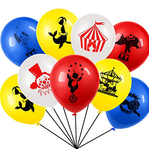 Set of 40 Carnival Circus Animals Balloons Latex For Carnival Party Supplies Favors,Carnival Decoration 12 Inch ()