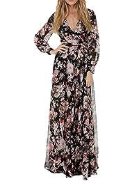Women's Bohemian Floral Print Long Sleeve V Neck Long Maxi Swing Dress Plus Size