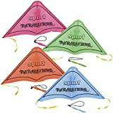 Sports Glider Kite for Kids - Pack Of 4 - Flying Colorful Paragliding with Band - Perfect for Outdoor and Open-Air Activities, Game on Summer Vacation, Field Trip, Play Parks, Gifts, Stocking Stuffers