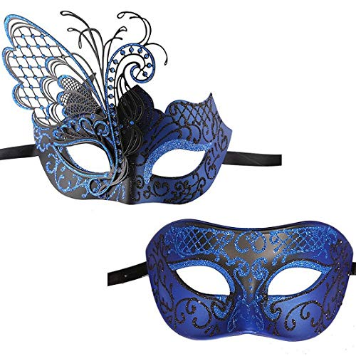 Xvevina Couples Pair Mardi Gras Venetian Masquerade Masks Set Party Costume Accessory (Blue Black Couples)
