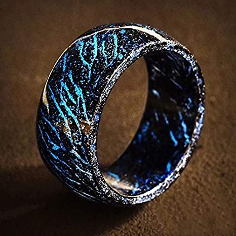 Coomir Luminous Glow Ring Glowing In The Dark Jewelry Dekoration Unisex f/ür Damen und Herren 6 blau
