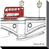 London Stretched Canvas Print - Red Bus On Battersea Bridge, Susie Brooks (12 x 12 inches)