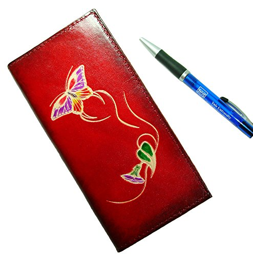 Cheque Book Cover Pattern ~ Leather check book cover a butterfly and flower patterns