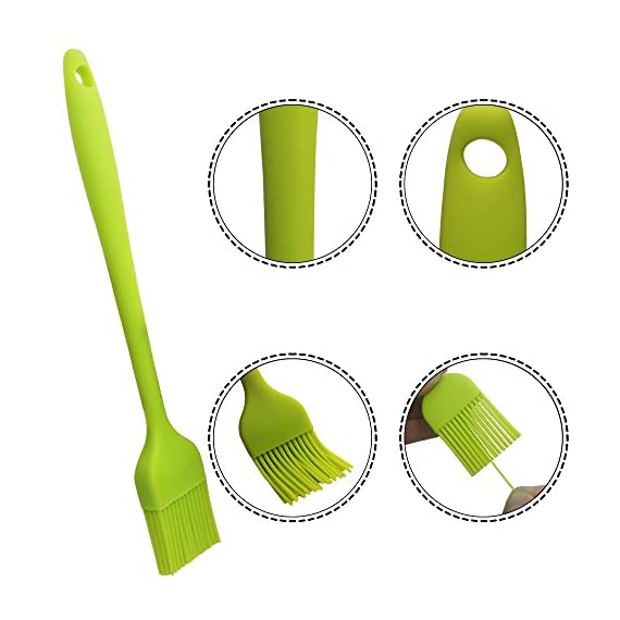 YuCool 5 Pack Silicone Basting Brush, Pastry&Basting Oil Brush with 2 Rest for BBQ,Turkey Baster,Cake,Barbecue Utensil,Grilling,Marinating-5 Colors 5 High Quality:Hygienic solid silicone with Steel Support inside, will not melt,warp,discolor,or shrink like plastic or wooden brushes. Package:You will get 5 silicone brush and 2 silicone spoon rest,It's very convenient for you to replace,elegant design for kitchen work. Color and Dimension:5 Colors (Black,Blue,Red,Green,Orange),Brush size:8.2in*1.3in;Spoon Rest size:7.9in*3.8in. These beautiful colors will let your kitchen light up soon,keep a colorful and nice kitchen.