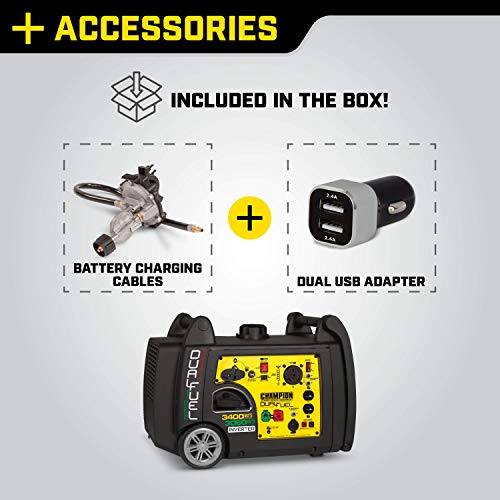 Accessories included with purchase of Champion 3400 Watt RV Generator: battery charging cables and dual USB adapter