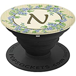 Floral Monogram Letter N - Cute Monogrammed Gift For Women - PopSockets Grip and Stand for Phones and Tablets