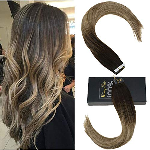 Sunny 18inch Human Hair Extensions Tape in Balayage Dark Brown to Light  Brown Highlighted Natural Tape in Hair Extensions Real Silky Straight 50g
