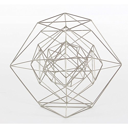 Benzara Shiny Silver Metal Wire Sphere, Large