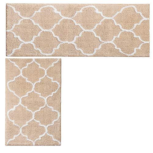 Hihome 2-Pack Beige Kitchen Rugs Non Skid Washable Kitchen Rug Set Non-Slip Rubber Backing Kitchen Floor ()