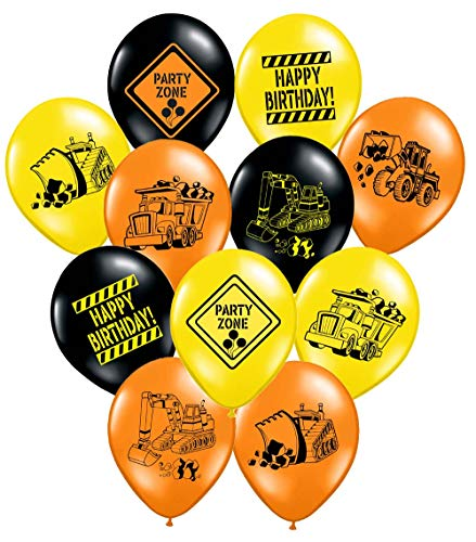 Construction Party Supplies - 36 Construction Themed Balloons - 12