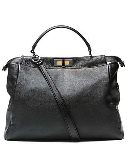 Wiberlux-Fendi-Womens-Twist-Lock-Two-Way-Carry-Real-Leather-Bag