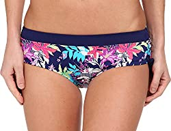 Christin Michaels Women's Hestia Hipster Midnight Blue Palm Swimsuit Bottoms 2XL