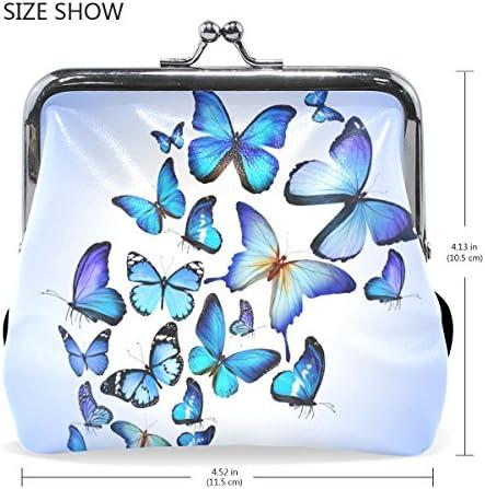 COOSUN Papillon Bleu Art color/é Dessin Beau clin doeil Porte-Monnaie en Cuir Fermeture dembrayage Portefeuille Monnaie Petit Multicolore