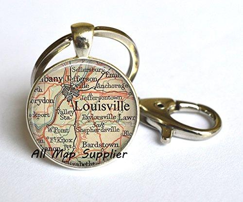 Charming Keychain,Louisville, Kentucky map Key Ring, Louisville map Keychain, Louisville map jewelry resin Key Ring,A0149 (Halloween City Lexington Ky)