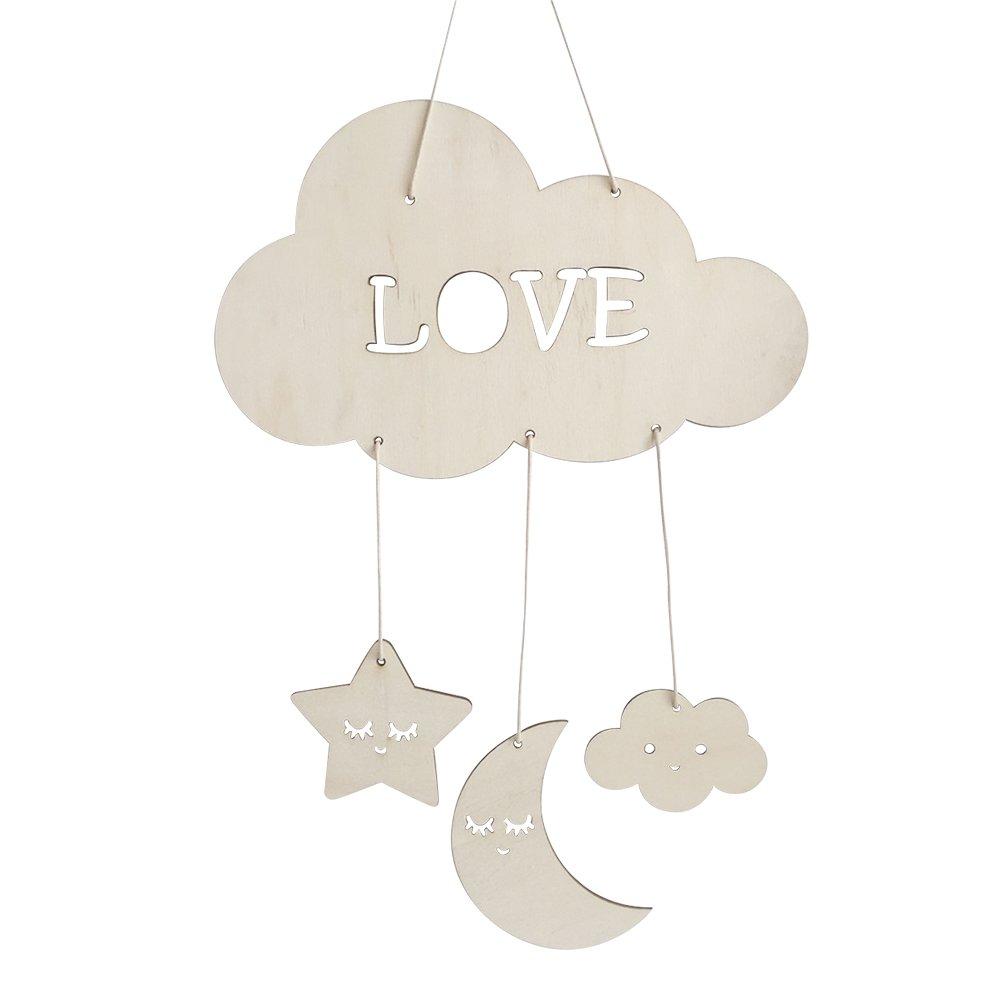 BESTOYARD Nursery Ceiling Mobile Clouds Moon Stars Ceiling Hanging Decorations for Baby Shower Baby Nursery Room