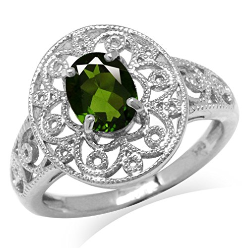 1.32ct. Green Chrome Diopside White Gold Plated 925 Sterling Silver Victorian Style Filigree Ring Size 7