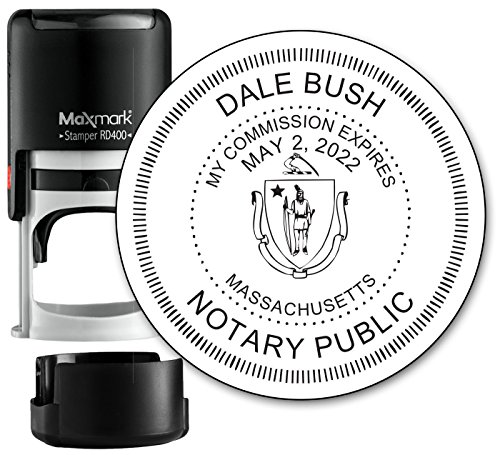 Round Notary Stamp for State of Massachusetts- Self Inking Stamp - Top Brand Unit with Bottom Locking Cover for Longer Lasting Stamp - 5 Year Warranty