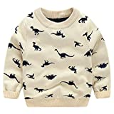 ACESTAR Boys Sweaters Long Sleeve Pullover Crew Neck Cotton Dinosaur Tops for Kids