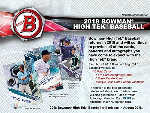 2018 Bowman High Tek Baseball Hobby Box (1 Pack/10 Cards: 4 Autographs)