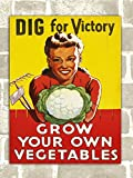 Vintage Style Dig for Victory Metal Plaque