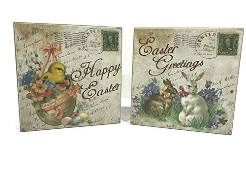 Blossoms Postcard (Happy Easter Greetings Botanical Blossoms Postcard Decorative Wooden Box Signs 2 pk.)