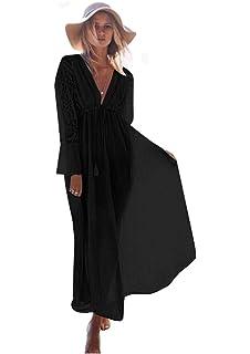 0ac3a532f4 M_Eshop Womens Beach Wear Cover up Swimwear Bikini Lace Floral Long Maxi  Beach Dress