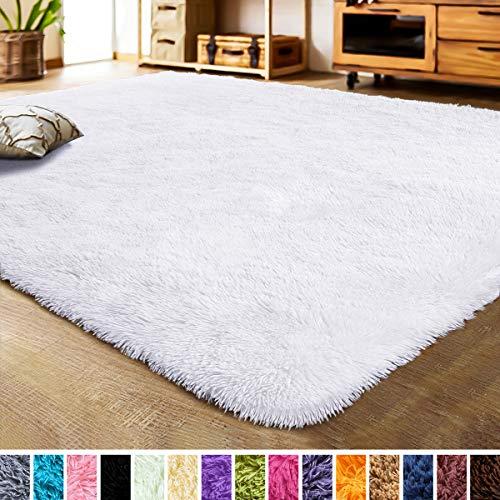 LOCHAS Luxury Velvet Bedroom Rugs Living Room Carpet, Fluffy, Super Soft Cozy, Bright Color, High Pile, Cute Area Rugs for Girls Room, Kids, Nursery and Baby (4x5.3 Feet, White)